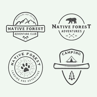Set logo campeggio all'aperto