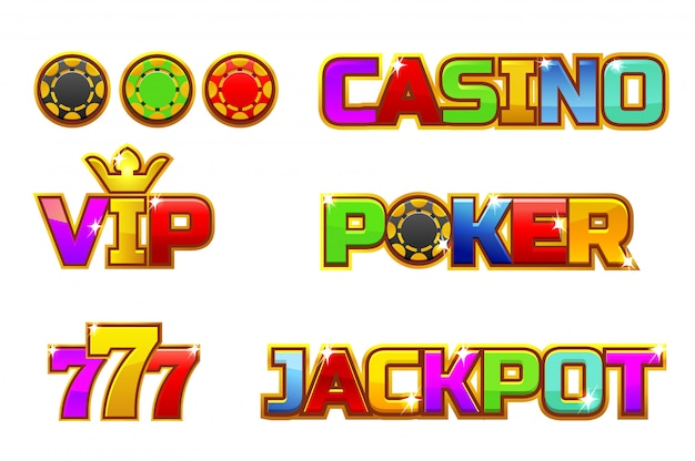 Set logo colorato jackpot, poker, 777, casino e vip. chip d'oro