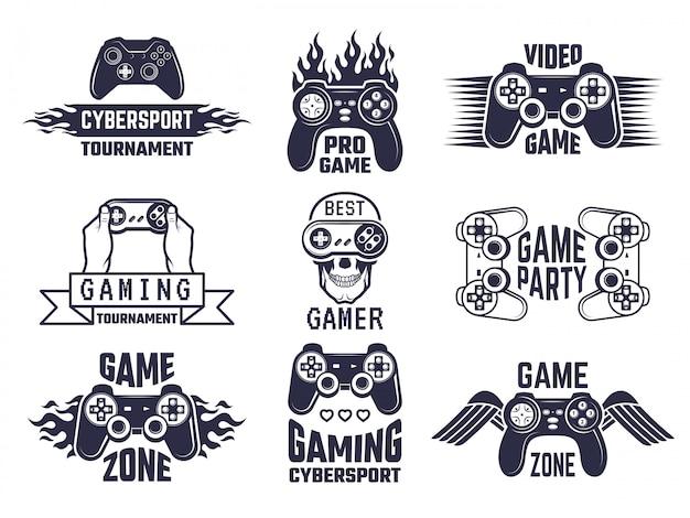 Set logo da gioco. videogiochi ed etichette di cyber sport