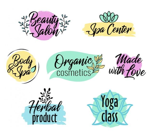 Set logo in stile pennello, prodotto di bellezza e spa,
