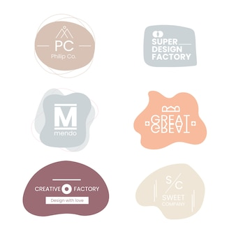 Set logo minimal colori pastello