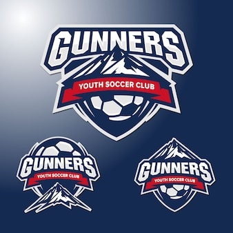 Set logo template mountain soccer team