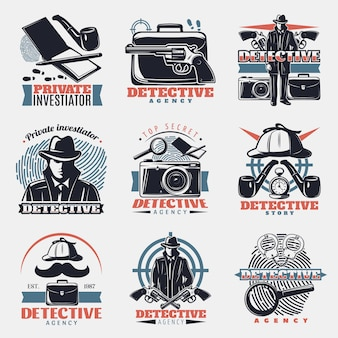 Set logo vintage detective