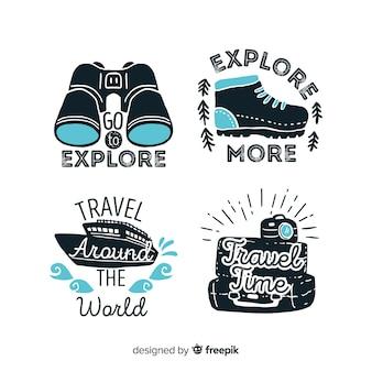 Set logo vintage viaggio piatto