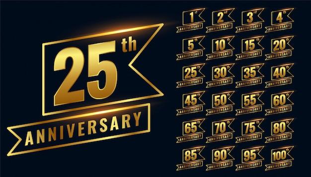 Set logotipo distintivo dorato felice anniversario premium