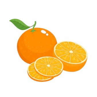 Set luminoso di metà colorato, fetta e segmento di arancia succosa. arance fresche del fumetto su fondo bianco.