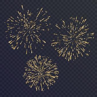 Set luminoso di tre elementi, fuochi d'artificio su sfondo scuro. illustrazione