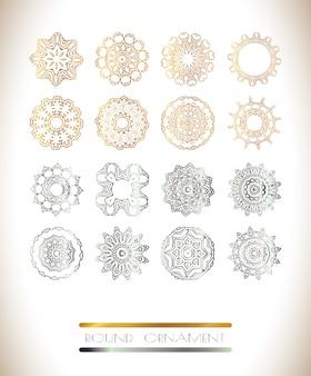 Set mandala dorato e argento