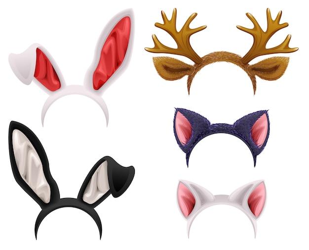 Set maschera gatto, coniglio, corno di cervo e orecchie. isolato su bianco