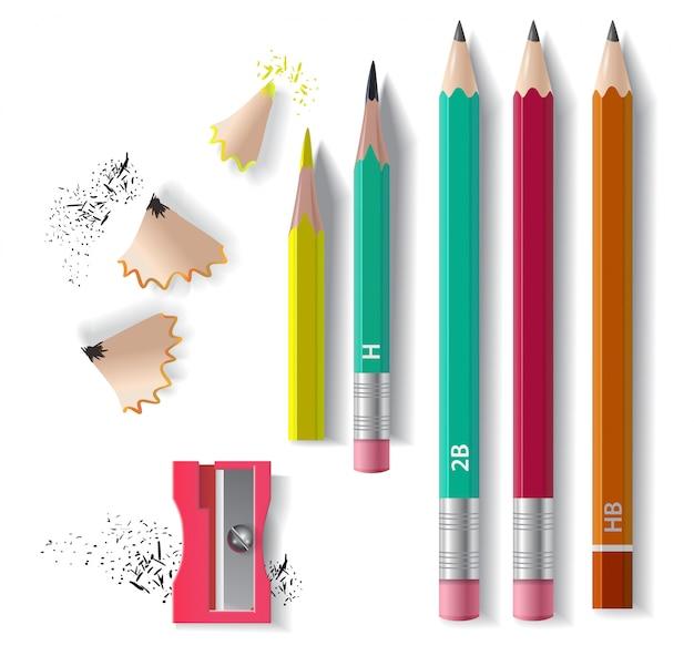 Set matite in grafite, temperino e trucioli per affilare. per banner, poster