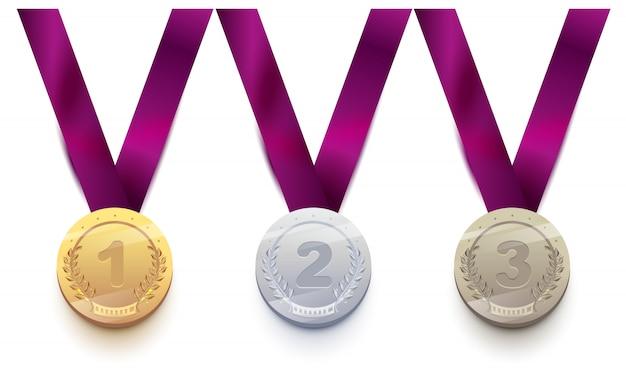 Set medaglia sportiva 1 oro, 2 argento, 3 bronzo