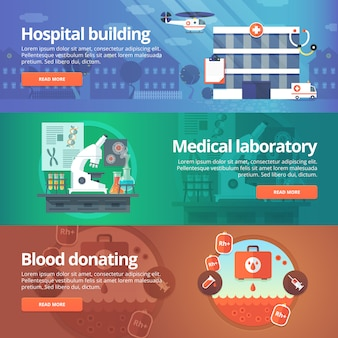 Set medico e sanitario. laboratorio ospedaliero. donazione di sangue. illustrazioni moderne. banner orizzontali.