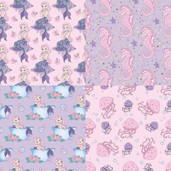 Set mermaid set sea travel seamless pattern
