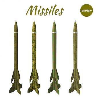 Set missile kaki isolato su bianco