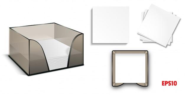 Set-mockup scatola di plastica con adesivi