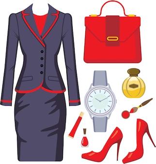 Set moda composto da abito femminile, accessori e cosmetici