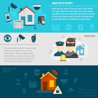 Set modello di banner di sicurezza domestica