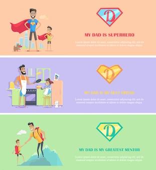 Set modello di banner giorno papà. mio padre è il mio supereroe migliore amico e il miglior mentore.
