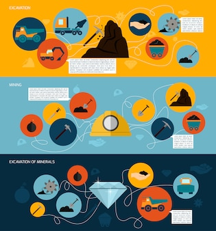 Set modello di banner piatto di data mining