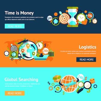 Set modello di banner piatto logistico