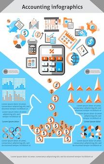 Set modello di contabilità infografica