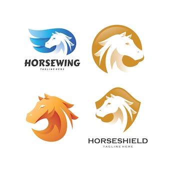Set modello di logo di stallone stallone pegasus