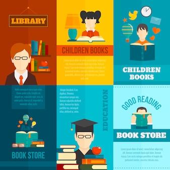 Set modello di poster di lettura
