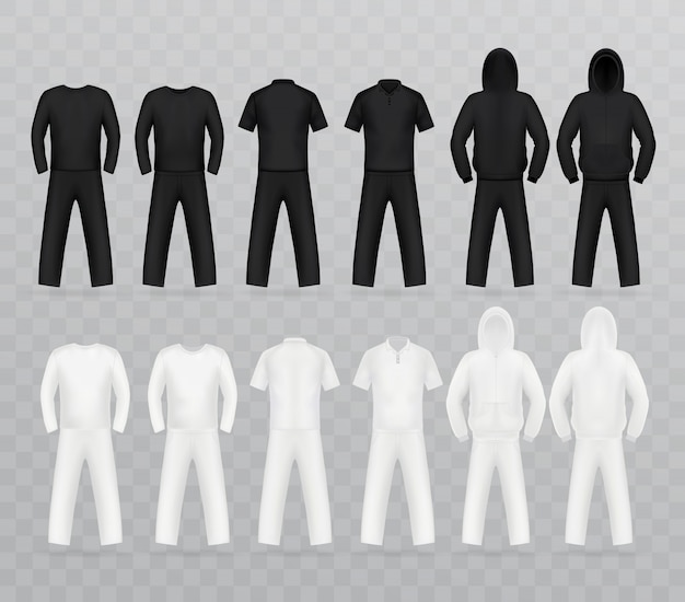Set modello di t-shirt, davanti.
