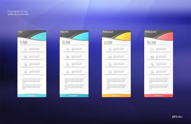 Set modello di tabella prezzi