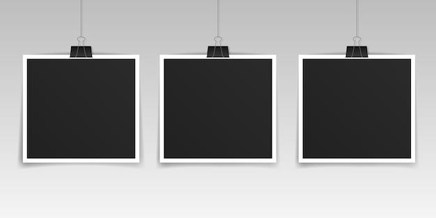 Set modello realistico cornice per foto
