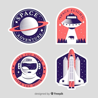 Set moderno di adesivi spaziali