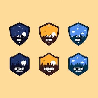 Set moderno di badge all'aperto