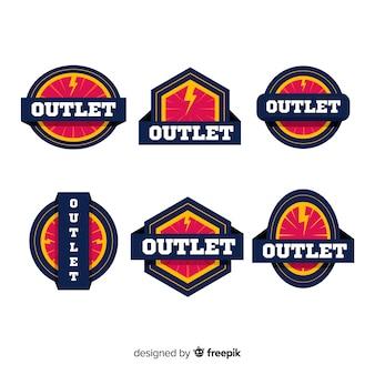 Set moderno di badge di presa