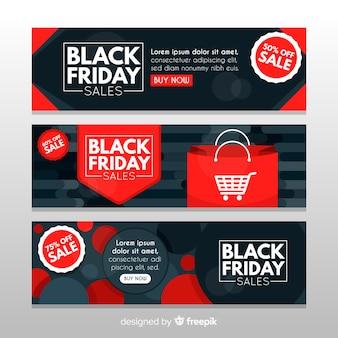 Set moderno di banner di venerdì nero con design piatto