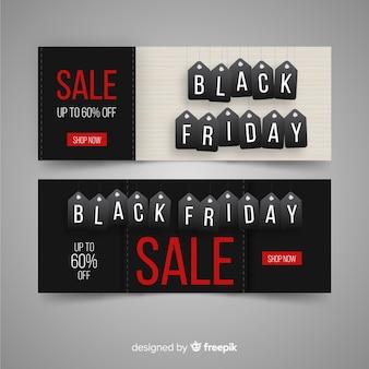 Set moderno di banner di venerdì nero con un design realistico