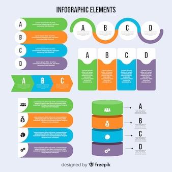 Set moderno di elementi di infografica con design piatto