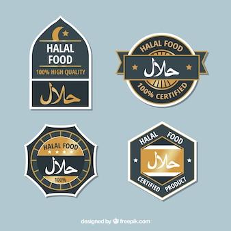 Set moderno di etichette alimentari halal con design piatto