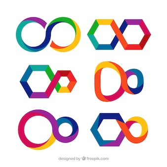 Set moderno di simboli infinito colorati