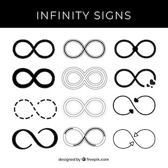 Set moderno di simboli infinito in colore nero