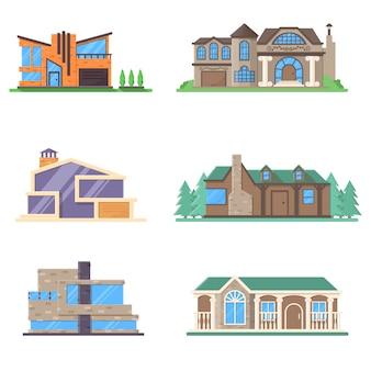 Set moderno edificio minimalista e casa signorile retrò