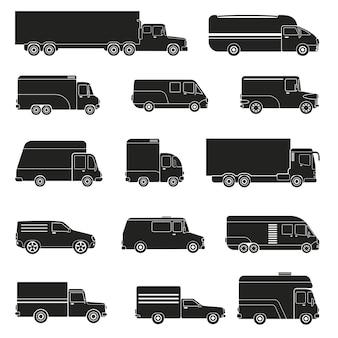 Set monocromatico di camion di consegna