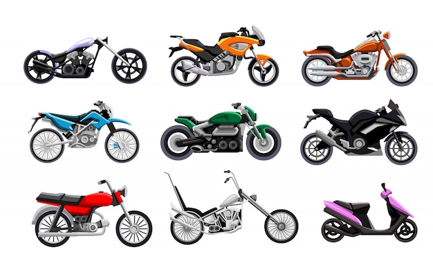 Set moto. collezione isolata di moto, scooter, chopper e bici sportive. trasporto a motore, illustrazione vettoriale di moto design