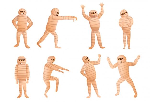 Set mummia, stile cartoon