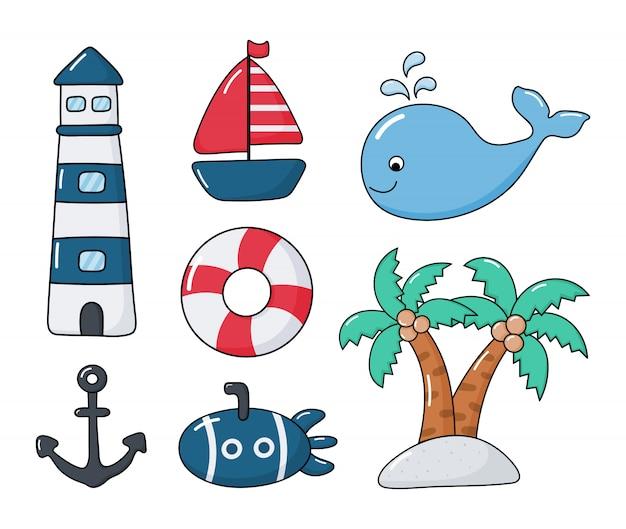 Set nautico in stile cartone animato. isolato