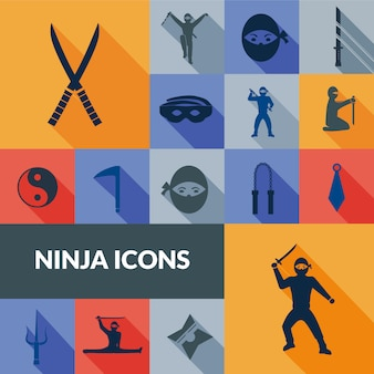 Set ninja icons black