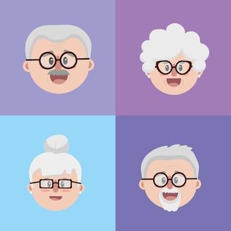 Set nonni coppie faccia con occhiali e acconciatura