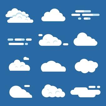 Set nuvola piatta isolato