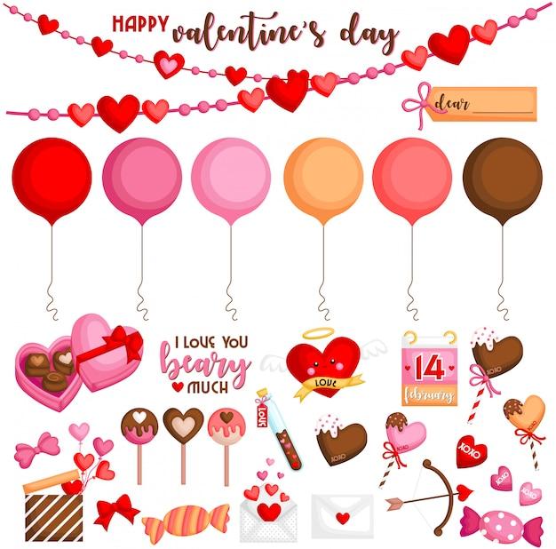 Set oggetti di san valentino