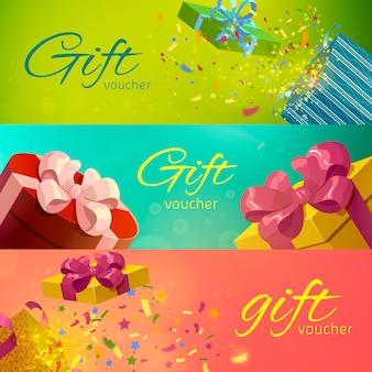 Set orizzontale di buoni regalo
