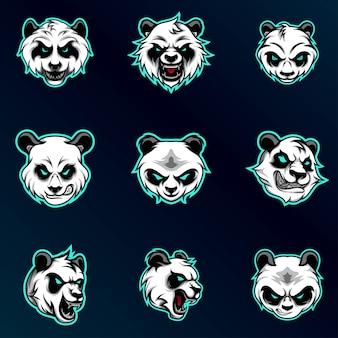 Set panda bianco testa
